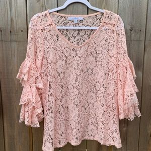 Fever Pink Lace Ruffle Sleeve Top